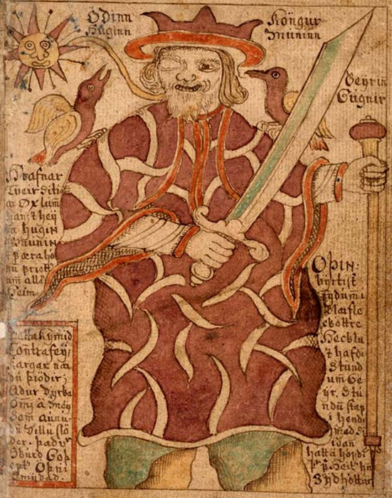 The one-eyed Odin with his ravens Hugin and Munin and his weapons. An illustration from an 18th-century Icelandic manuscript. (Public Domain)