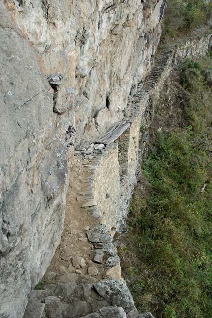 The path with the Inca Bridge at Machu Picchu was constructed to make its use difficult.