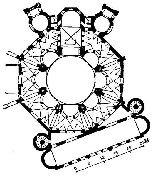 The plan of the San Vitale church in Ravenna, Italy. (Public Domain)