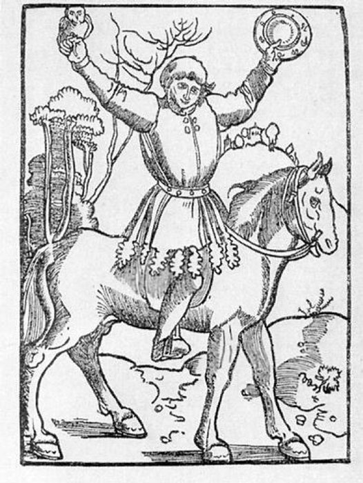 The prankster Till Eulenspiegel, depicted with owl and mirror (title page of the Strasbourg edition of 1515). (Public Domain)