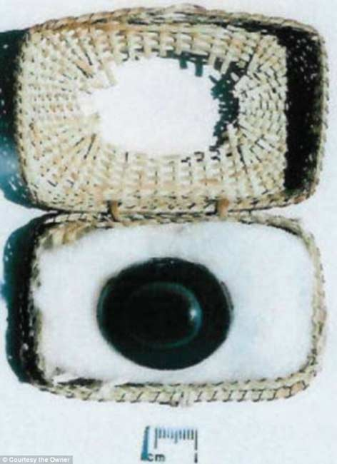 The sardonyx stone in the papyrus casket it was carried in.