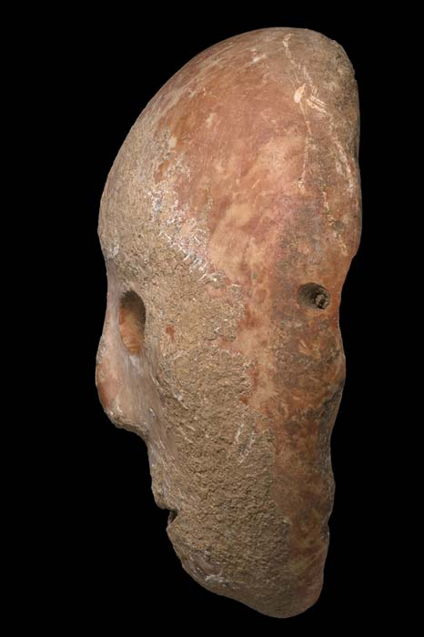 The side view of the ancient mask shows one of four holes, possibly to allow the mask to be worn in rituals. (Clara Amit, Israel Antiquities Authority)