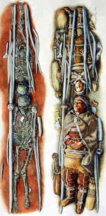 The skeletons and a depiction of what the grave may have originally looked like.