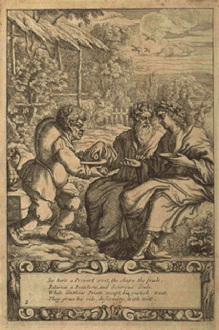 The slave Aesop serving two priests - Aesop as depicted by Francis Barlowin the 1687 edition of 'Aesop's Fables with His Life'. (Stevensaylor / Public Domain)