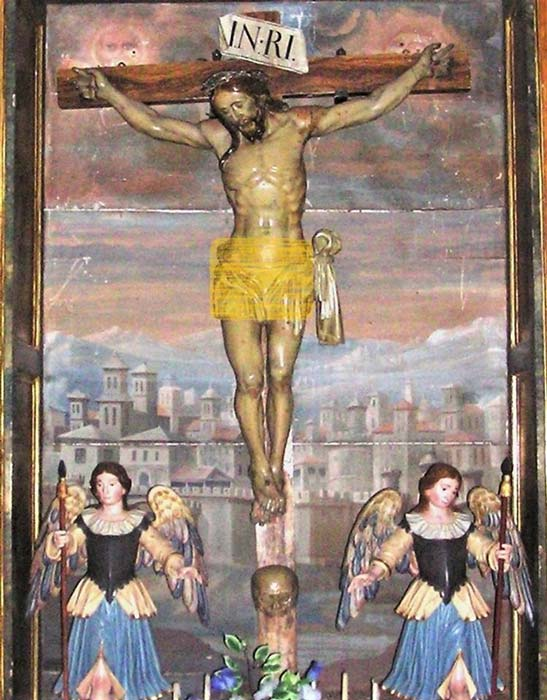 The statue of Christ in situ in the Church of Santa Agueda, Sotillo de la Ribera
