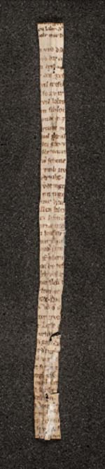 The strip of the poem 'Der Rosendorn' was tied around a Latin text. (Melk Abbey)