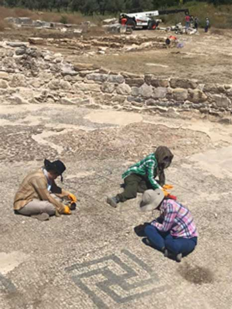 The team has revealed mosaics at the Lagina Hecate sanctuary . (Bilal Sogut / Facebook)