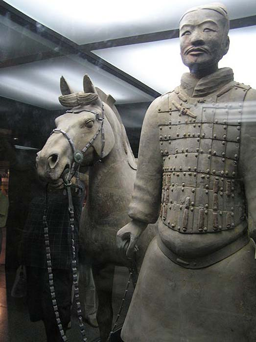 The terracotta soldier and his terracotta horse are two of the statues on loan to museums in the USA.