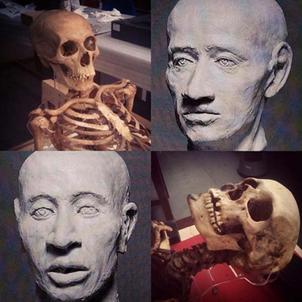 The two skulls and reconstruction of their faces at Manchester Museum
