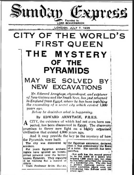 Откриването на изгубен град в Египет се съобщава в много документи през 1935 г., включително този доклад в Sunday Express на 7 юли 1935 г. (публично достояние)