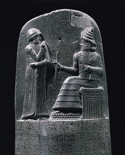 The upper part of the stela of Hammurabis' code of laws.