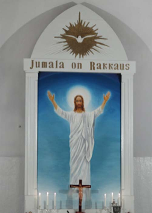 The word Jumala as the name of God in Finnish Lutheran church. Jumala on Rakkaus translates to God is love. (Messir / CC BY-SA 4.0)