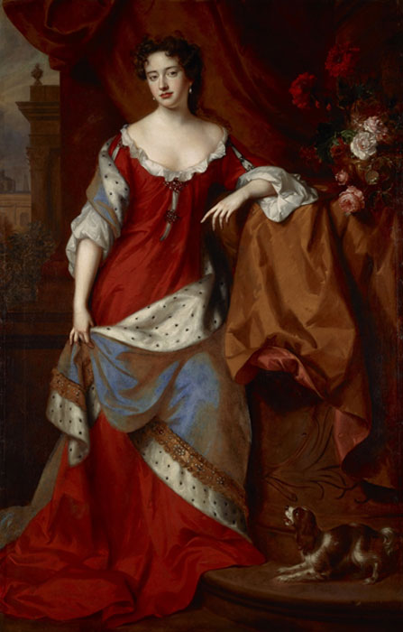 The young Queen Anne, as Princess of Denmark circa 1684, painted by Willem Wissing and Jan van der Vaardt. (Public Domain)