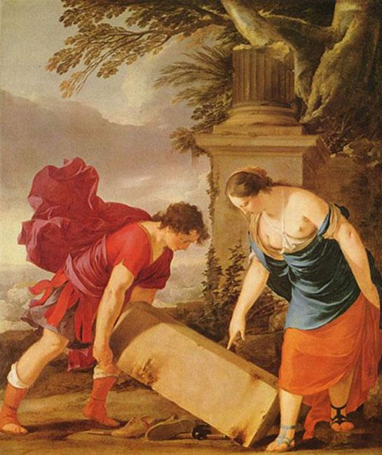 'Theseus and Aethra' (1635-1636) by Larent de la Hyre. (Public Domain)