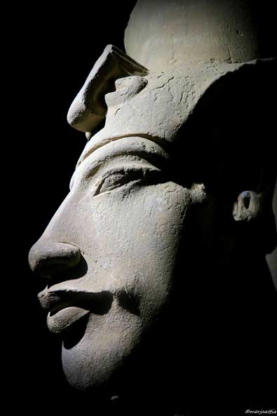 This colossal sandstone sculpture of Pharaoh Akhenaten was discovered – among scores of others – in situ at Karnak Temple; where it was attacked and felled to the ground by furious agents of the Amun priesthood. National Museum of Alexandria.