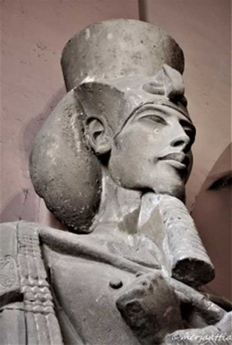 This colossal sandstone sculpture of Akhenaten wearing the Khat headdress and double crown was discovered at Karnak Temple. Egyptian Museum, Cairo.