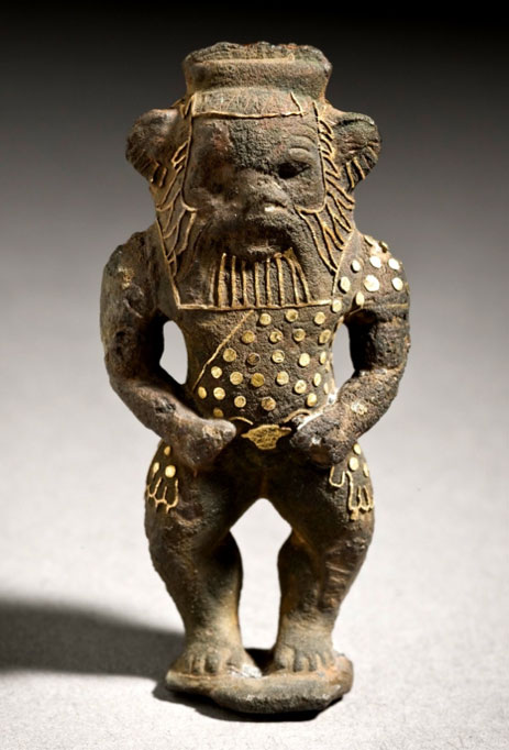 This exquisite figurine of the protector-deity Bes is made of Bronze with gold inlays. Bes was particularly popular among women and children. Third Intermediate Period. Los Angeles County Museum of Art.
