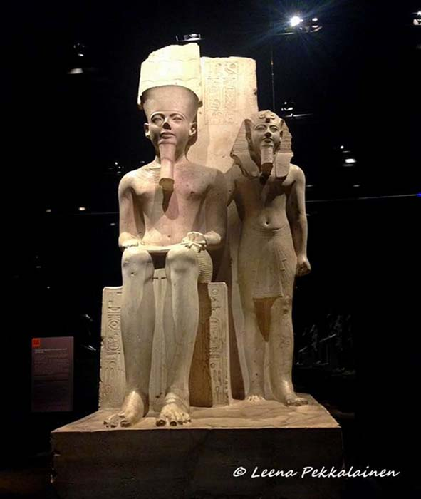 This limestone sculpture, from the Temple of Amun in Thebes, depicts Horemheb standing beside the state god whose worship he further restored after Tutankhamun; and followed it up with a thorough backlash on the Amarna Period. Museo Egizio, Turin, Italy.