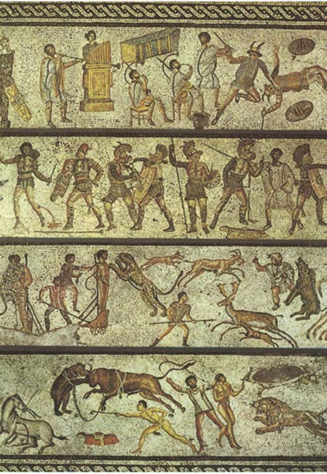 This mosaic depicts some of the entertainments that would have been offered at the games. Tripoli, Libya, first century.