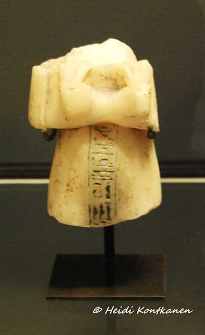 This shabti fragment naming Nefertiti has confounded Egyptologists for decades. Some believe it to be proof of the discovery of her burial; while others contend that it is no more than a votive offering placed in Akhenaten's tomb. Louvre Museum, Paris.