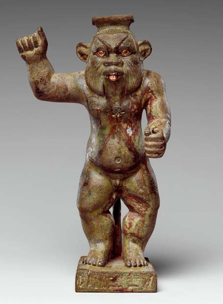 This statue has the visual form known for the god Bes, but the form was actually adopted for depictions of numerous other gods, usually ones related to Horus. Bronze; gold, electrum, auriferous-silver, copper and copper-alloy inlays. Metropolitan Museum of Art, New York. (Public Domain)