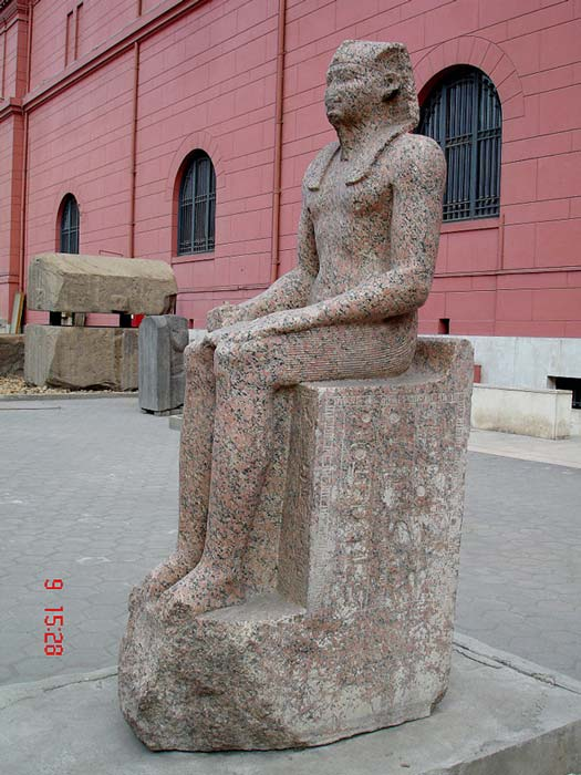 This statue of Sehetepibre (Amenemhat I) stands at the Egyptian Museum in Cairo. Amenemhat was not of royal lineage, so he renewed the pyramid style of monuments to cement his place as a sovereign.