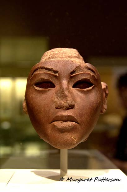 This unfinished quartzite face from a composite statue probably represents Queen Tiye, the brilliant matriarch. As a wife, mother and grandmother, she guided her family admirably—Egypt certainly owed much of its success to Tiye's astuteness. Metropolitan Museum of Art, New York.