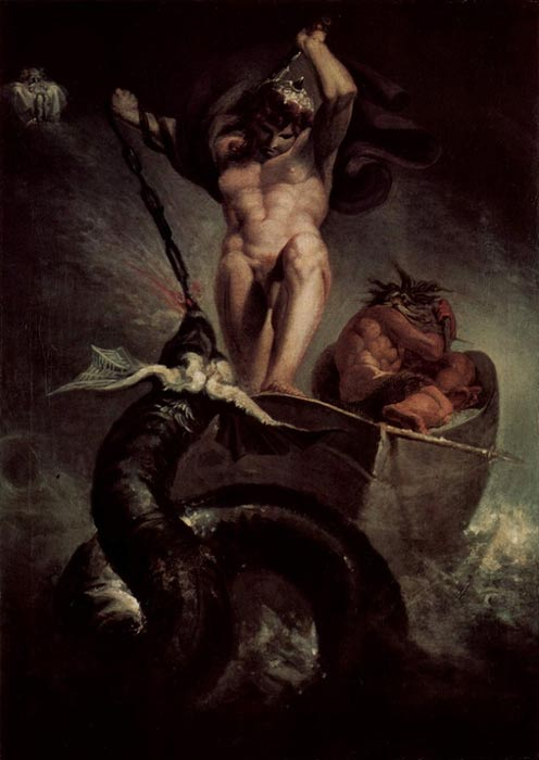 """Thor in Hymir's boat battling the Midgard Serpent"" (1788) by Henry Fuseli."