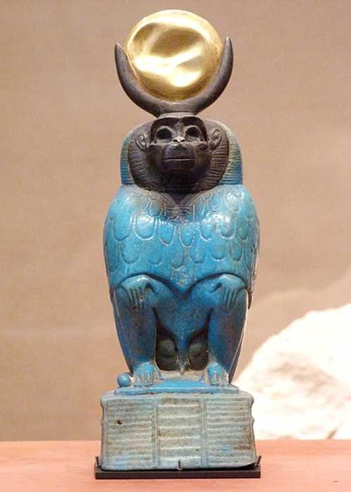Thoth as a baboon. Offered by a man named Horhetep. Ptolemaic Egypt, circa 332-30 BC Faience, gold and silver