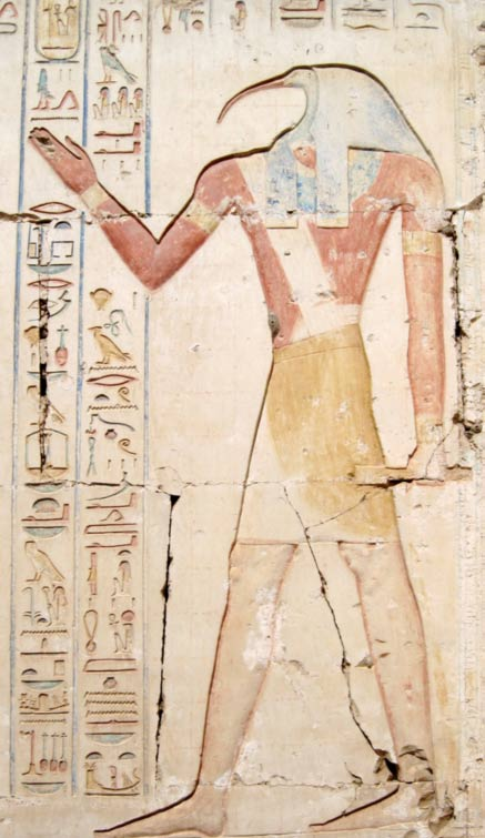 Thoth carved and painted at a temple in Abydos