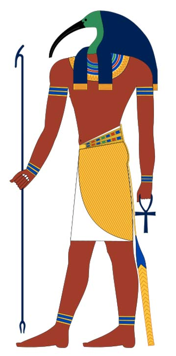 Thoth, ancient Egyptian god often depicted as an ibis-headed man.