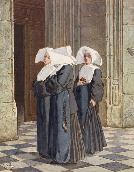 Three Nuns in the Portal of a Church by Armand Gautier.