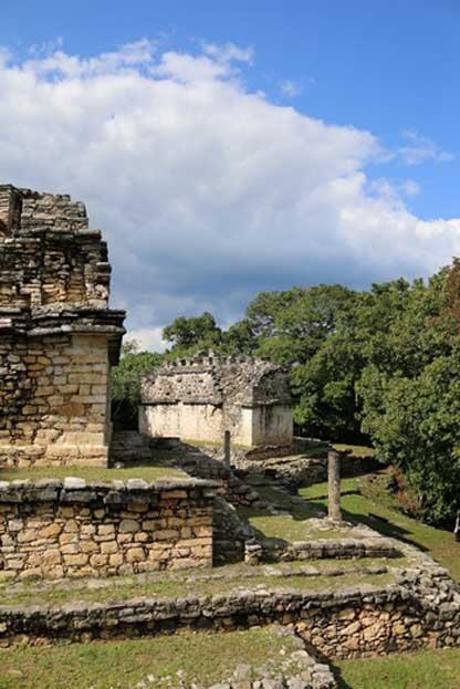 Three large temples dominate the Great Acropolis of Yaxchilan. A carved stalactite can still be seen standing in front of one of the temples in the picture. (Photo: ©Marco M. Vigato)