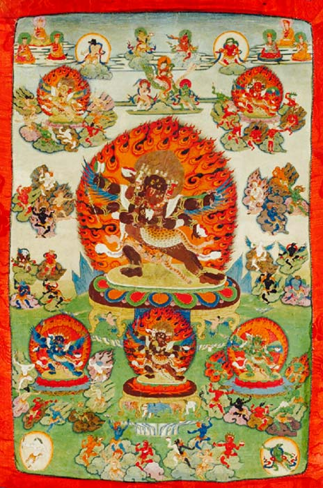 Tibetan thangka from 18th century. Middle figure is Mahottara Heruka, upper left figure is Ratna Heruka, upper right is Padma Heruka, lower center is Buddha Heruka, lower right is Karma Heruka, and lower left is Vajra Heruka. All of them have a consort. Surrounding these figures are the 58 wrathful deities.