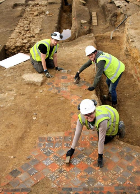 Tile floor was found at the site