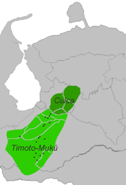 Timoto-Cuica languages: Cuica dialects = dark green, Timoto-Mukú = light green, black spots are toponyms in Mukú. (Davius / Public Domain)