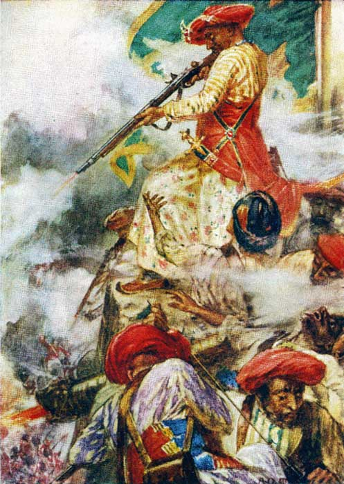 Tipu Sultan firing at his adversaries during the siege of Seringapatam, 1791. (Public Domain)