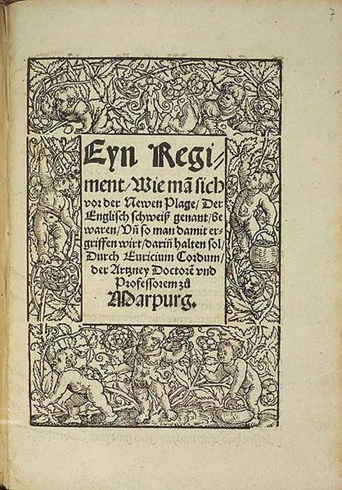 Title page of a publication in Marburg, 1529, about the English sweating sickness. (Public Domain)