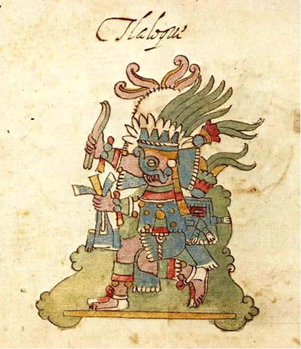 Tlaloc, god or rain and water, from Codex Rios. (Public Domain)