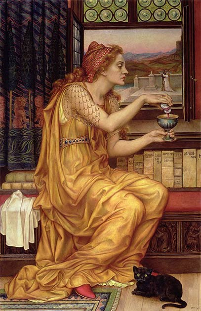 The story of Giulia Tofana and her trademark Aqua Tofana is entangled with the criminal magical underworld which existed throughout Europe. The Love Potion by Evelyn De Morgan. (Public domain)