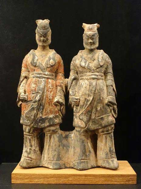 Tomb figurines of two men, China, Northern Wei dynasty, 386-534 AD, earthenware with traces of paint - Östasiatiska museet, Stockholm, Sweden. (CC0)