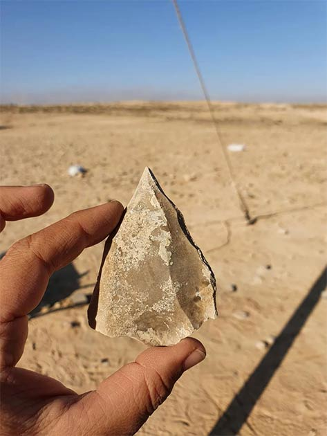 Tool found in the Negev with sharpened tip typical of Nubian Levallois technique. (Emil Eladjem, Israel Antiquities Authority)