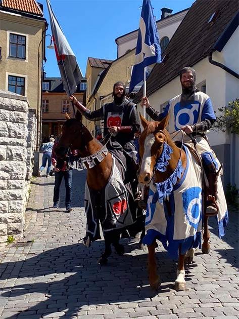 Torneamentum knights on patrol on Gotland, during peak tourist season, to keep COVID-19 at bay (Torneamentum)
