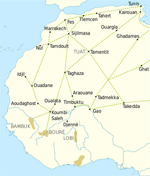Trade routes of the Western Sahara 1000-1500. Goldfields are indicated by light brown shading. (Public Domain)
