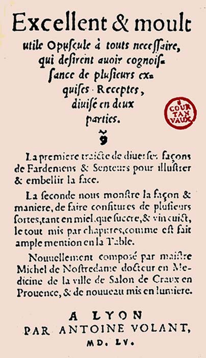 Traité fardement confitures of Nostradamus (1555) (Public Domain)