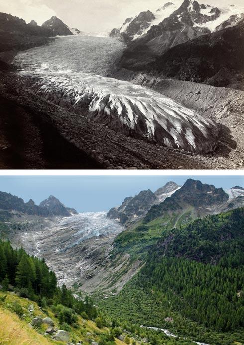 Trient Glacier in 1891 and 2010. (Musée d'histoire du Valais/Oscar Nicollier/Hilaire Dumoulin and Nicolas Crispini)