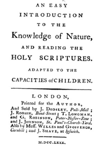 Trimmer's first book was 'An easy introduction to the knowledge of nature, and reading the holy scriptures, adapted to the capacities of children', 1780. (Awadewit / Public Domain)