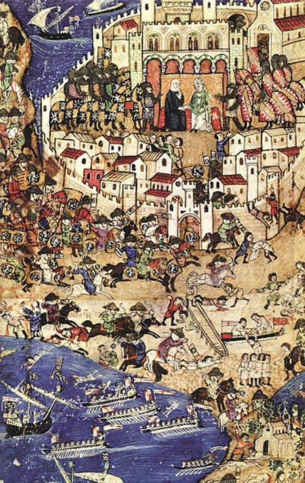 The fall of Tripoli to the Mamluks, April 1289. This was a battle towards the end of the Crusades and preceded the siege of Acre.