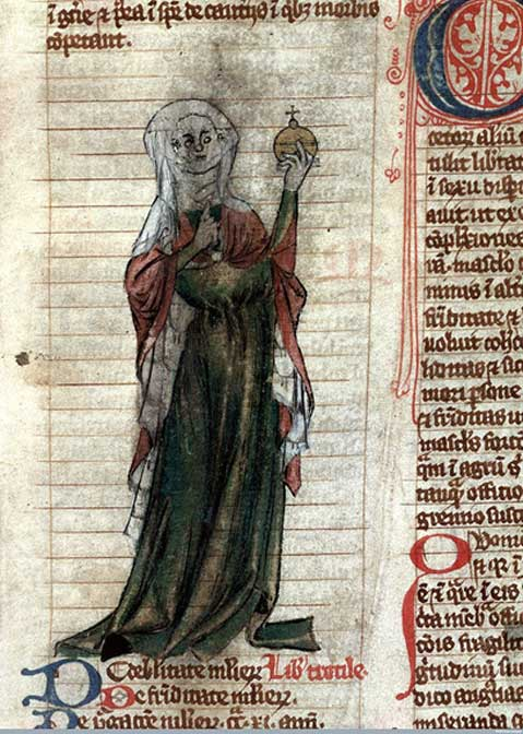 """Trotula"", clothed in red and green with a white headdress, holding an orb. (Miscellanea medica XVIII), early 14th century (France), a copy of the intermediate Trotula ensemble"