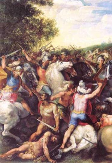 Tullus Hostilius defeating the army of Veii and Fidenae, modern fresco.